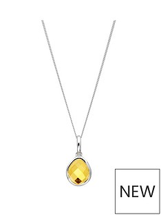 the-love-silver-collection-sterling-silver-organic-ovalcitrine-semi-precious-november-birthstone-pendant