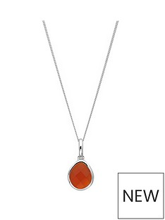 the-love-silver-collection-sterling-silver-organic-oval-carnelian-semi-precious-july-birthstone-pendant