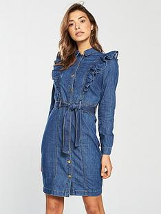 v-by-very-denim-button-through-frill-dress