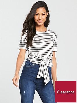 miss-selfridge-tie-waist-smart-top-stripenbsp
