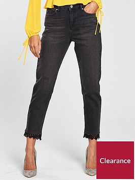 miss-selfridge-lace-hem-mom-jean-black