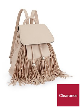 miss-selfridge-fringe-backpack-cream