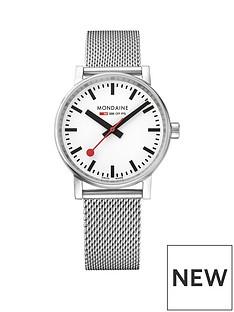 mondaine-mondaine-evo2-ladies-watch-35mm-stainless-steel-case-white-dial-stainless-steel-mesh-bracelet