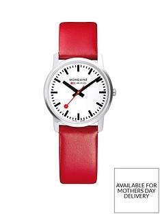 mondaine-mondaine-simply-elegant-ladies-watch-36mm-stainless-steel-slim-case-white-dial-red-leather-strap