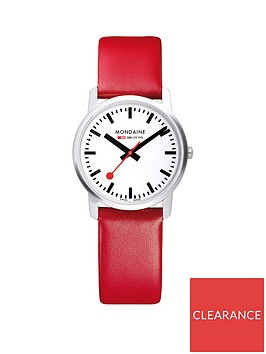mondaine-mondaine-swiss-made-simply-elegant-white-sapphire-glass-dial-polished-stainless-steel-36mm-case-red-leather-strap-watch