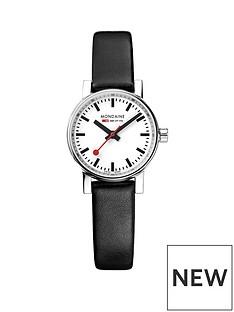mondaine-mondaine-evo2-ladies-watch-26mm-stainless-steel-case-white-dialblack-leather-strap