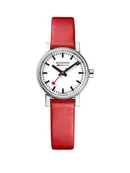 mondaine-mondaine-swiss-made-evo2-white-sapphire-glass-dial-polished-stainless-steel-26mm-case-red-leather-strap-watch