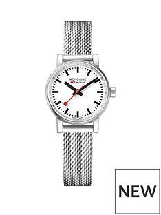 mondaine-mondaine-evo2-ladies-watch-26mm-stainless-steel-case-white-dial-with-stainless-steel-mesh-bracelet