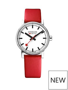 mondaine-mondaine-evo2-ladies-watch-35mm-stainless-steel-case-white-dial-red-leather-strap