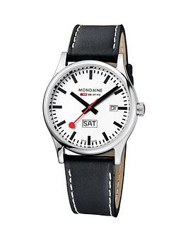 mondaine-mondaine-sport-day-date-mens-watch-with-41mm-stainless-steel-case-white-dial-black-leather-strap-with-stitching