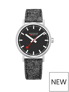 mondaine-mondaine-classic-mens-watch-with-40mm-stainless-steel-case-black-dial-grey-felt-leather-lined-strap