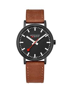 mondaine-mondaine-classic-mens-watch-with-40mm-ip-black-case-black-dial-brown-leather-strap