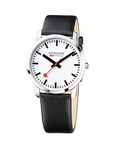 mondaine-mondaine-simply-elegant-mens-watch-41mm-stainless-steel-slim-case-white-dial-black-leather-strap