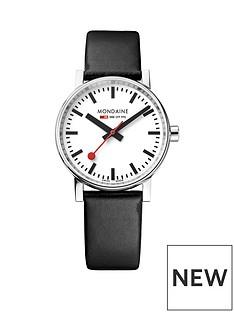 mondaine-mondaine-evo2-unisex-watch-35mm-stainless-steel-case-white-dial-black-leather-strap