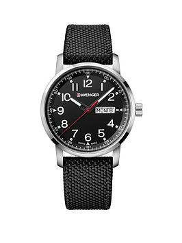 wenger-attitude-heritage-day-date-black-dialnbsp42mm-stainless-steel-case-and-black-nylon-strap-mensnbspwatch