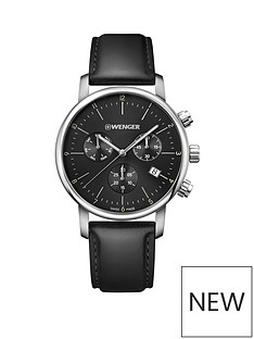 wenger-urban-classic-black-chronograph-dialnbsp44mm-stainless-steel-case-with-black-leather-strap-mensnbspwatch