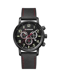 wenger-attitudenbspblack-chronograph-dialnbsp44mm-stainless-steel-pvd-black-case-black-leather-strap-mensnbspwatch