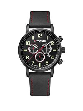 wenger-attitudenbspblack-chronograph-dialnbsp44mm-stainless-steel-pvd-black-case-black-leather-strap-mensnbspwatch