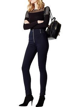 karen-millen-mixed-mesh-jersey-top-black
