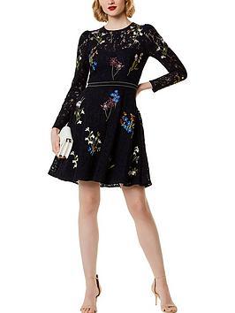 karen-millen-floral-embroidered-lace-dress-multicolour