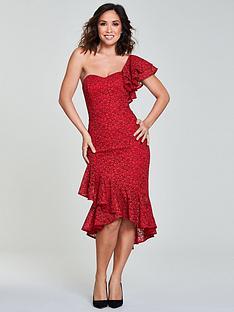 6bdf85b2f120 Myleene Klass One Shoulder Wrap Lace Pencil Dress - Red