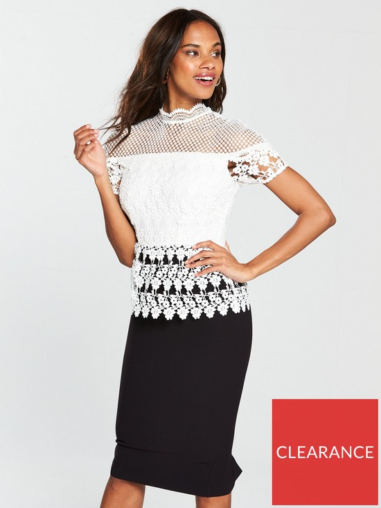 ed5c68abd2d V By Very Premium Lace Pencil Dress Black White Co Uk