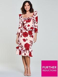 myleene-klass-frill-pencil-dress-printnbsp