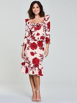 Myleene Klass Frill Pencil Dress - Print