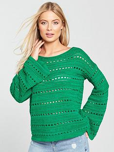 v-by-very-pointelle-detail-flare-cuff-jumper--green