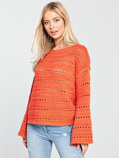 v-by-very-pointelle-detail-flare-cuff-jumper-orangered