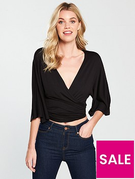 v-by-very-knot-front-slouchy-top-black