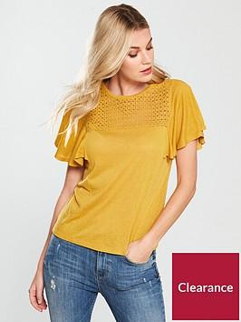 v-by-very-crochet-angel-sleeve-top-mustard