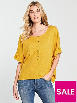 v-by-very-boxy-frill-side-t-shirt-mustard