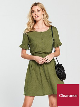 v-by-very-frill-slub-jersey-dress-khaki