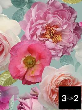arthouse-country-garden-teal-wallpaper