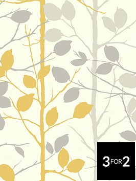 arthouse-woodland-grey-amp-yellow-wallpaper
