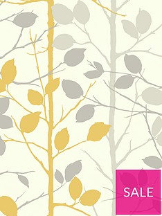 arthouse-woodland-grey-yellow-wallpaper