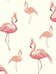 arthouse-queen-flamingo-coral-wallpaper