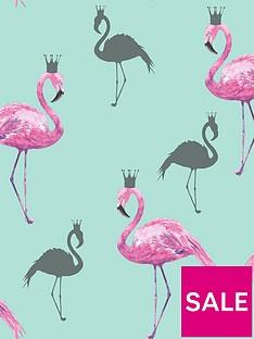 arthouse-queen-flamingo-pink-amp-teal-wallpaper