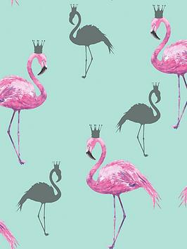 arthouse-queen-flamingo-pink-amp-teal-wallpaper