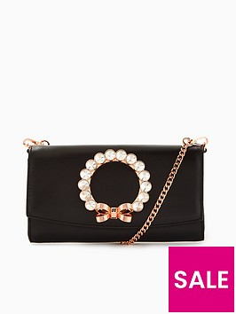 ted-baker-pearlii-pearl-bow-matinee-purse-with-chain-black