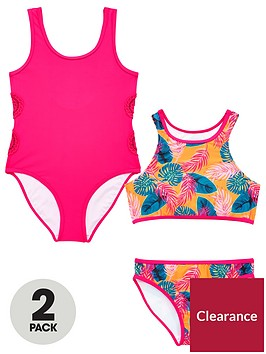 v-by-very-girls-2-pack-crochet-tropical-swimsuits-multi