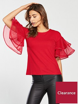 v-by-very-woven-frill-crepe-top-red
