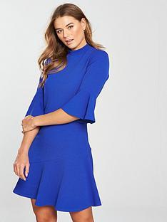 v-by-very-asymmetric-hem-dress-cobalt-blue