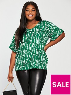 junarose-duena-short-sleeve-printed-top-green