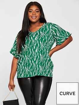 junarose-duena-short-sleeve-printed-top-green