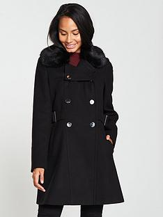 v-by-very-faux-fur-trim-double-breasted-coat-black