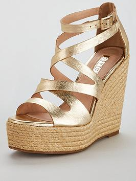 Office Hot Love Gold Wedge Shoe