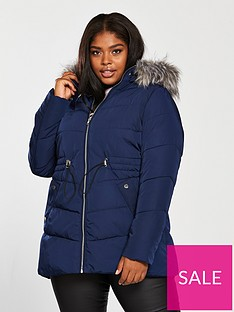 9806aab6b8c7 V by Very Curve Padded Coat With Faux Fur Trim and Drawstring Waist - Navy