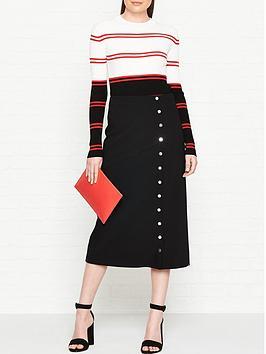 sportmax-code-ordine-popper-detail-skirt-black